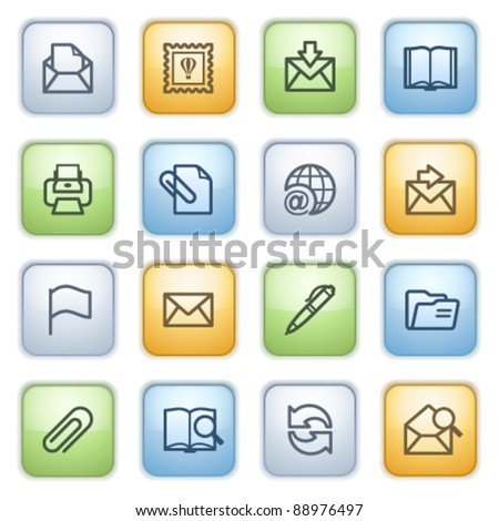 Color buttons with contour icons 2 - stock vector