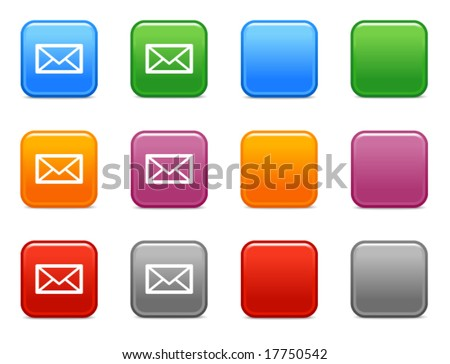 Color buttons with mail icon - stock vector