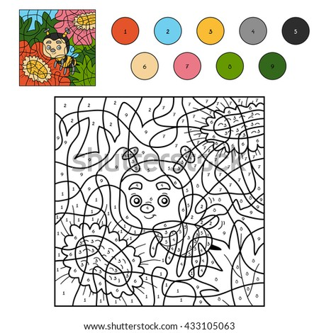 Color by number, education game for children. Little bee and flowers - stock vector
