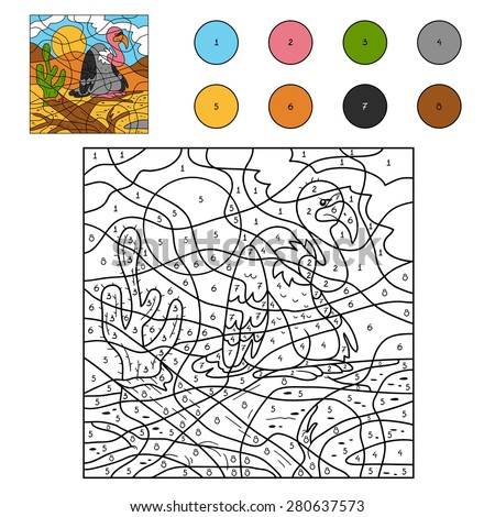 Color by number (vulture) - stock vector