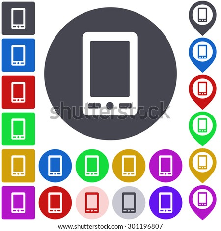 Color cellphone icon, button, symbol set. Square, circle and pin versions. - stock vector