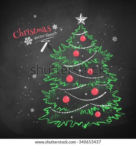 Color chalk vector sketch of Christmas tree decorated with balls, garlands and star on black chalkboard background.  - stock vector