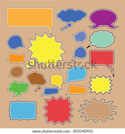 color chat, speech comics bubbles icons set, vector - stock vector