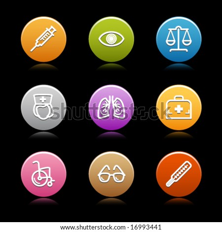 Color circle web icons, set 13 - stock vector