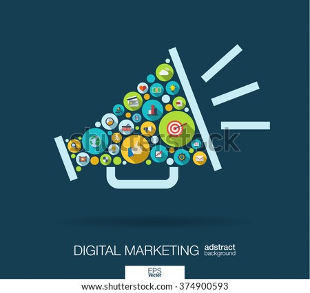 Color circles, flat icons in a speaker shape: digital marketing, social media, network, computer concept. Abstract background with connected objects in integrated group of element. Vector illustration - stock vector