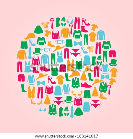 color clothing icons set in circle eps10 - stock vector