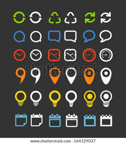 Color collection  of Web icons - stock vector