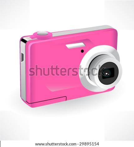 Color compact camera. Vector illustration. - stock vector