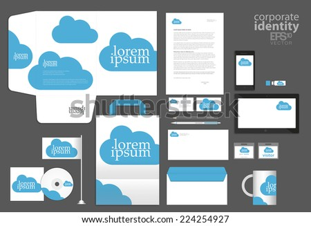 Color corporate identity template design with cyan blue clouds. Vector company style. - stock vector
