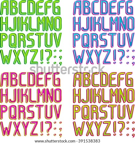 Color 3d striped font in 4 color schemes, Part 1/2 Alphabet - stock vector