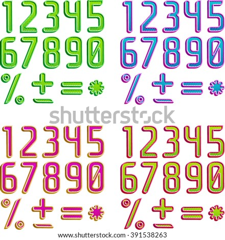 Color 3d striped font in 4 color schemes, Part 2/2 Digits - stock vector
