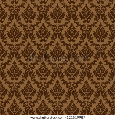 Color Damask Seamless Vector Pattern.  Elegant Design in Royal  Baroque Style Background Texture. Floral and Swirl Element.  Ideal for Textile Print and Wallpapers.  - stock vector