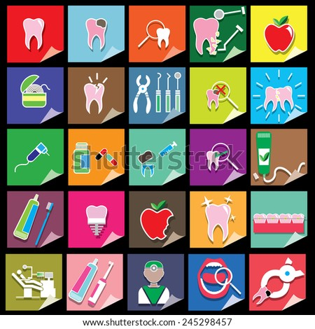 color dental icons on color square background - stock vector