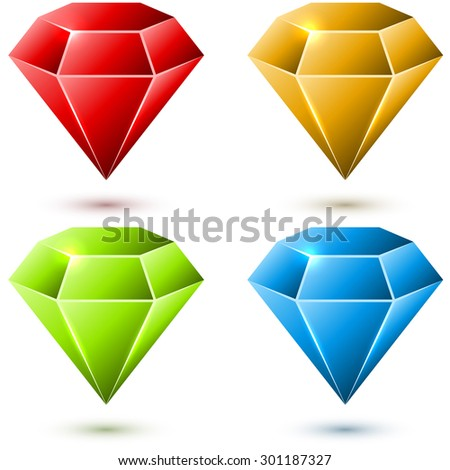 Color diamond vector set isolated on white background. - stock vector
