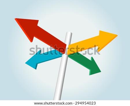 color direction arrow sign, choice concept - stock vector