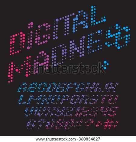 Color dots alphabet. Vector font Digital Madness - stock vector