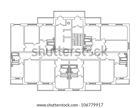 Color drawing house. Vector EPS10 - stock vector