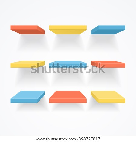 Color Empty Shelves. Ready For Your Design. Vector illustration - stock vector