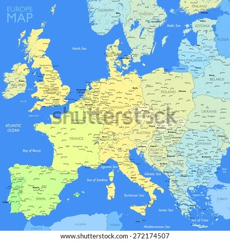Color Europe map - stock vector