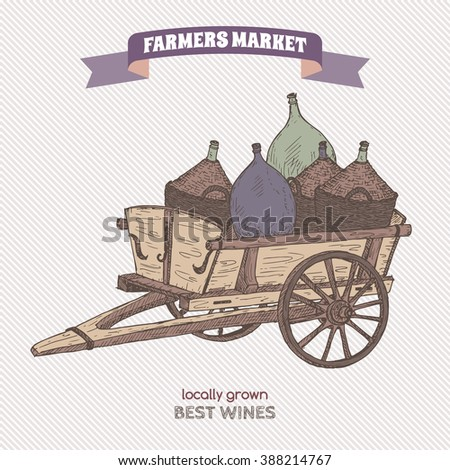Color farmers market label with wine bottles. Hand drawn sketch. Great for markets, grocery stores, organic shops, food label design.  - stock vector