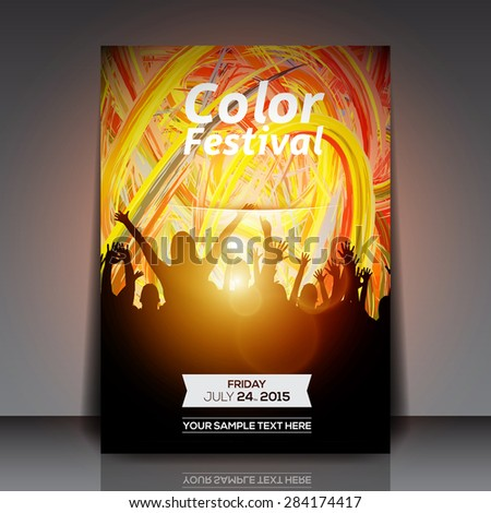 Color Festival Party Flyer - Vector Design - stock vector