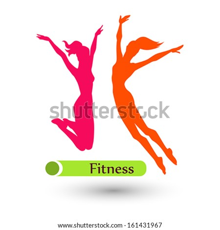 Color fitness women on the white background - stock vector