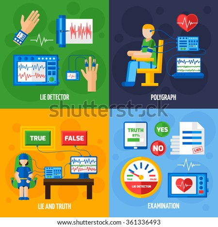 Color flat composition depicting method of recognizing truth or lie by polygraph examination and tests vector illustration - stock vector