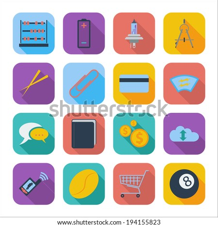 Color flat icons for Web Design and Mobile Application. Vector illustration. - stock vector