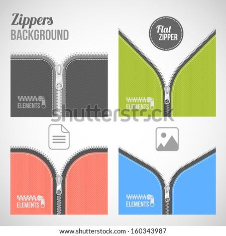 color flat style different type background zipper banner set - stock vector