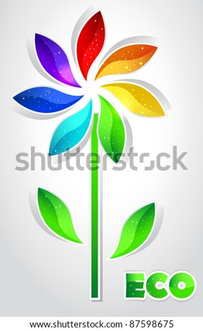 Color flower - stock vector