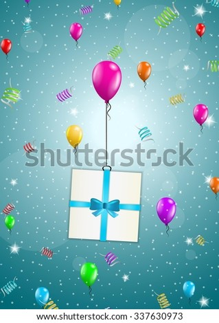 color flying balloons with present on festive blue background - stock vector
