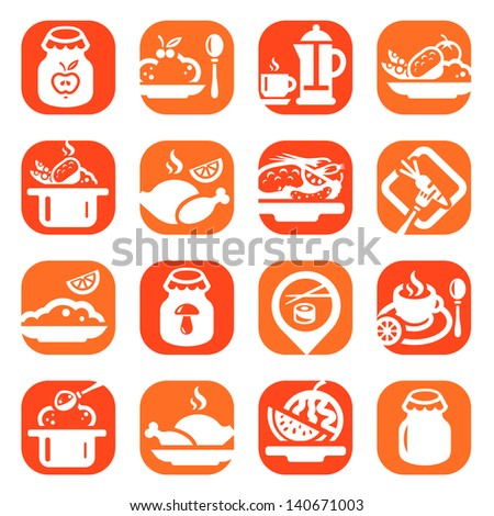 Color Food Vector Icons Set Created For Mobile, Web And Applications. - stock vector