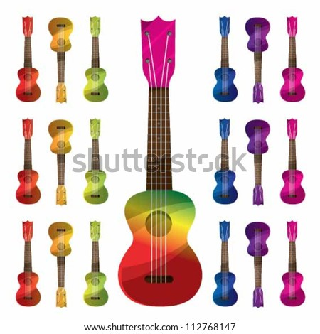 Color Full Ukulele - stock vector