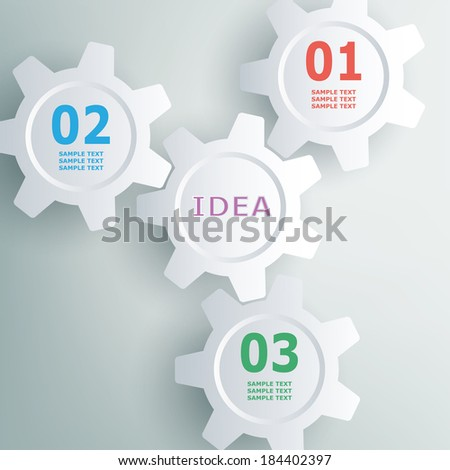 Color Gears Info graphics Number Options Banner - stock vector