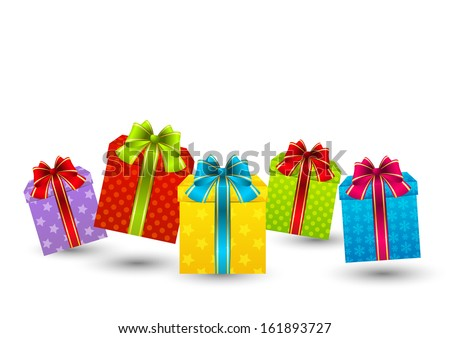 Color gift boxes on white - stock vector