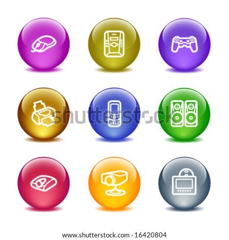 Color glass ball web icons, set 21 - stock vector