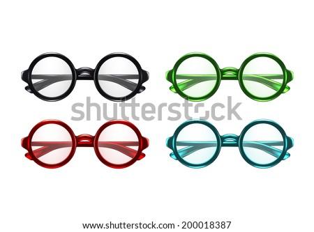 Color Glasses Set - stock vector