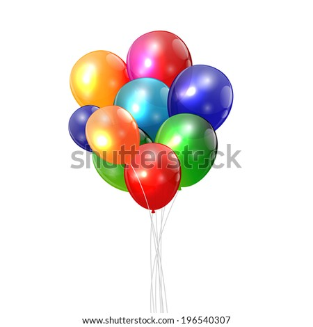 Color Glossy Balloons Background Vector Illustration - stock vector