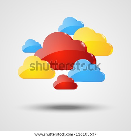 Color glossy clouds background - stock vector