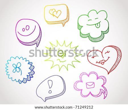 Color hand drawn speech bubbles - stock vector