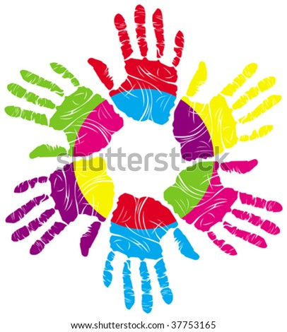 color handprints - stock vector