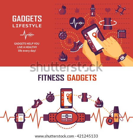 Color horizontal banners about fitness gadgets that help peolpe monitoring state of health - stock vector