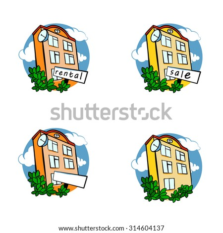 color house icons isolated on white background/ home icons - stock vector