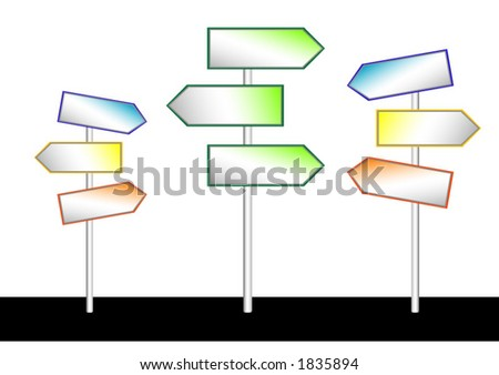Color illustration of direction signs. Can be easily changed and/or sized. - stock vector