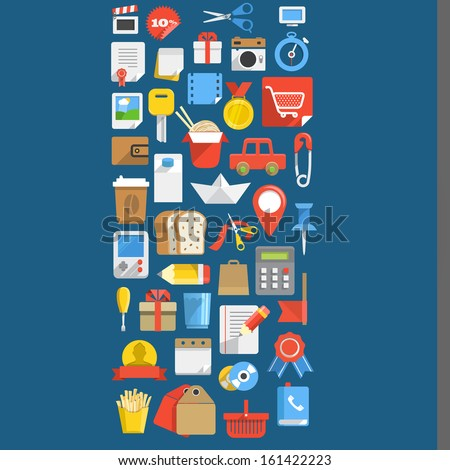Color interface icons background - stock vector