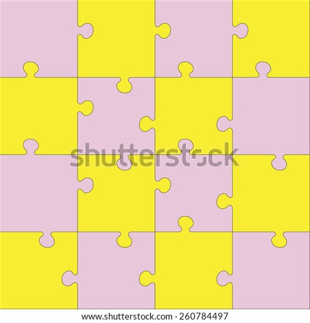 Color Jigsaw puzzle. Every piece is a single shape. Seamless puzzle texture. Puzzle template. Cutting guidelines. Puzzle different shape. Cut on 16 piece. Eps 8 - stock vector