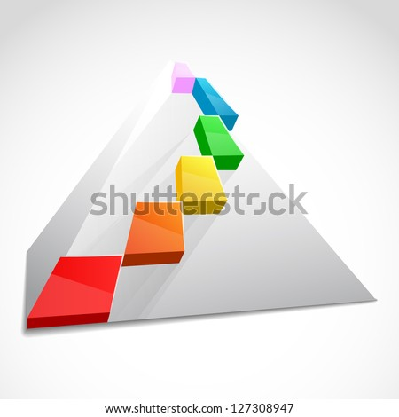 Color layered pyramid. Business concept - stock vector