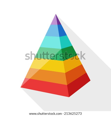 Color layered pyramid with long shadow on white background - stock vector