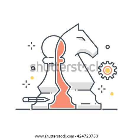Color line, chess knight illustration - stock vector