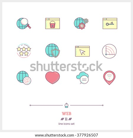 Color line icon set of global connection, objects and tools elements. Web interface, technology service, internet protections, search, social networking, webpages. Logo icons vector illustration - stock vector